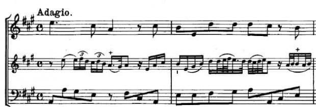 Notenbeispiel Verzierungen Telemann