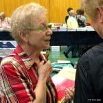 Frau Schunder, Musiklädle, an ihrem Stand