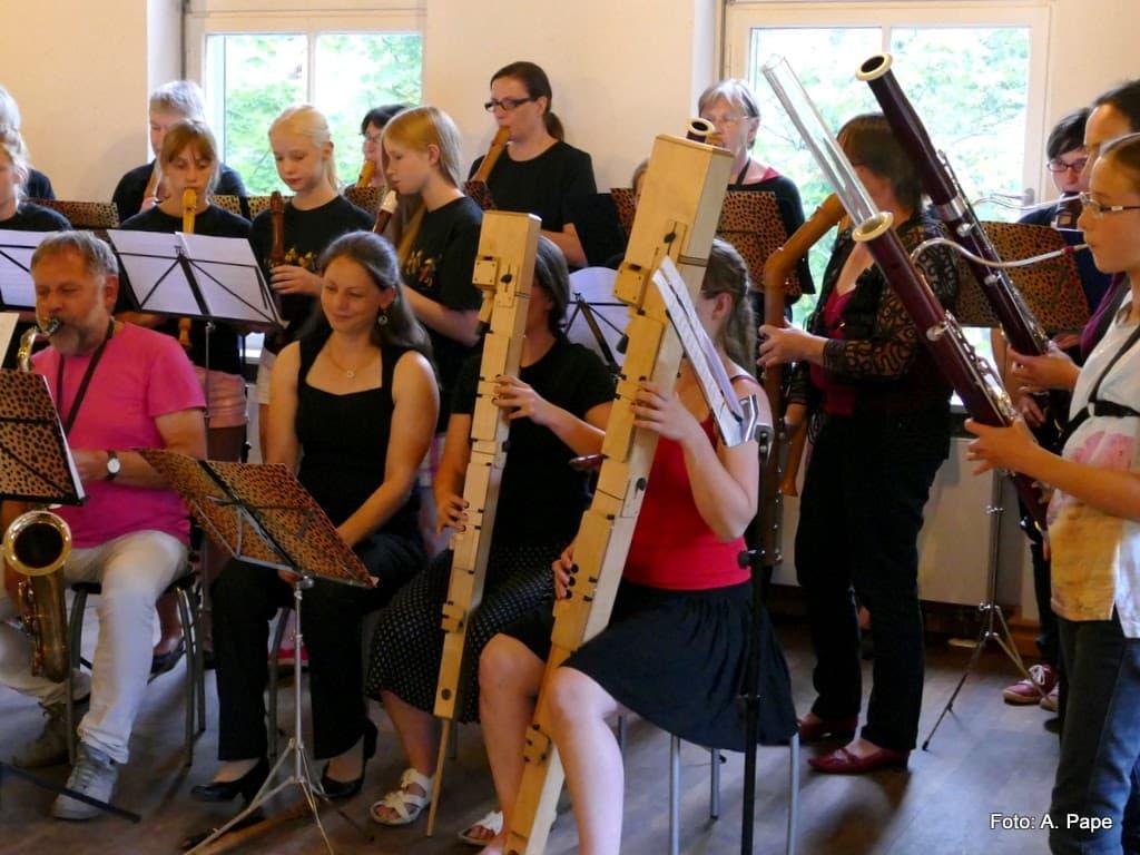 Fagotte, Kontrabass-Blockflöten, Saxophone u.a. beim Tutti