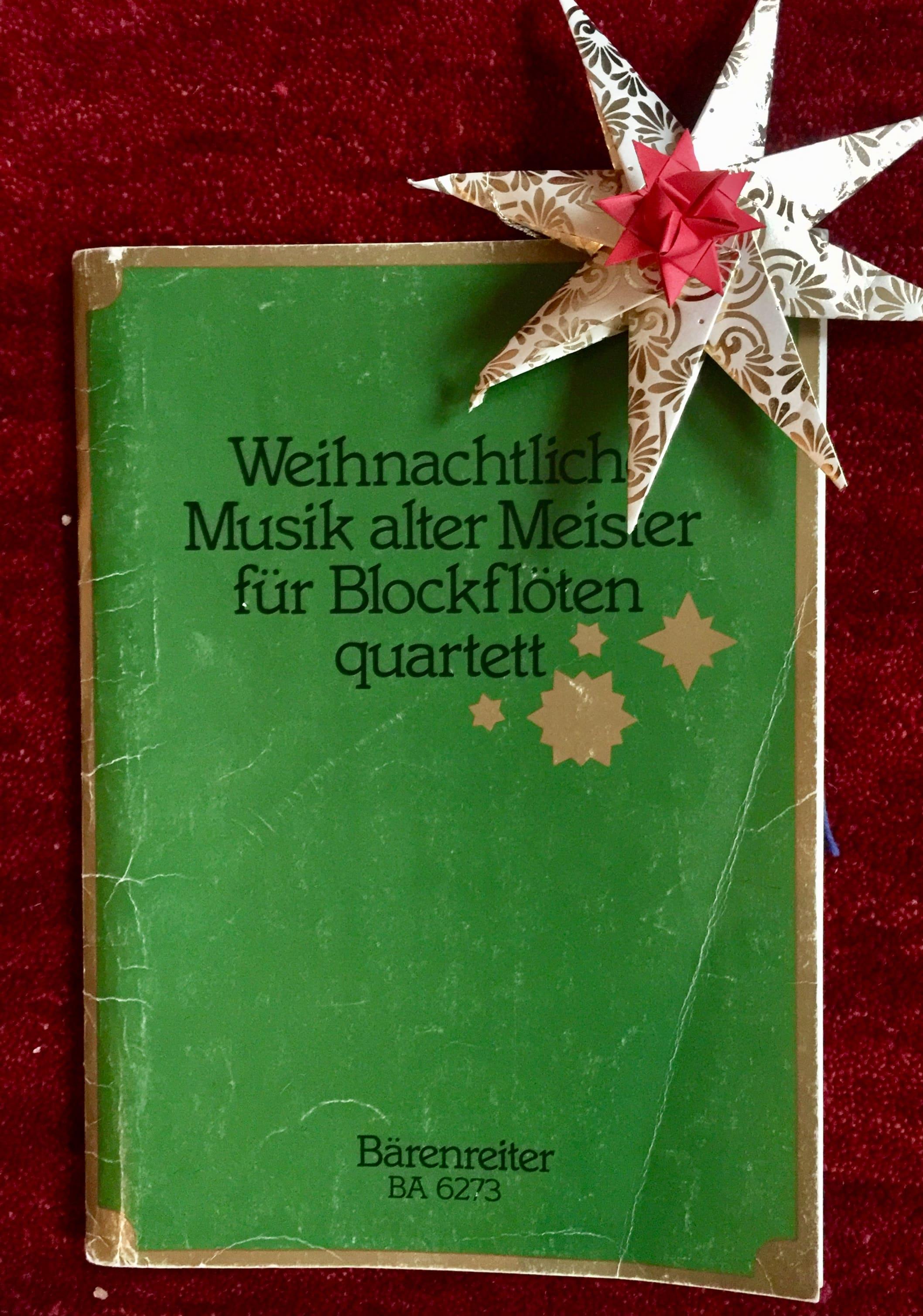 Weihnachtsliederbuch für Blockflötenquartett, grün