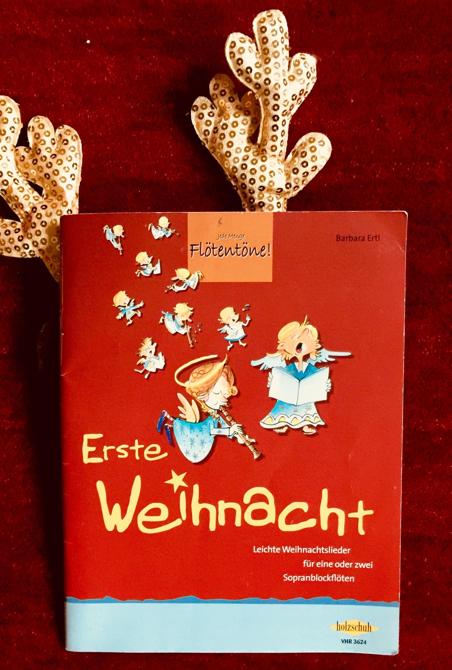 Weihnachtslieder für Sopranflöte, rotes Buch mit Engeln, B. Ertl