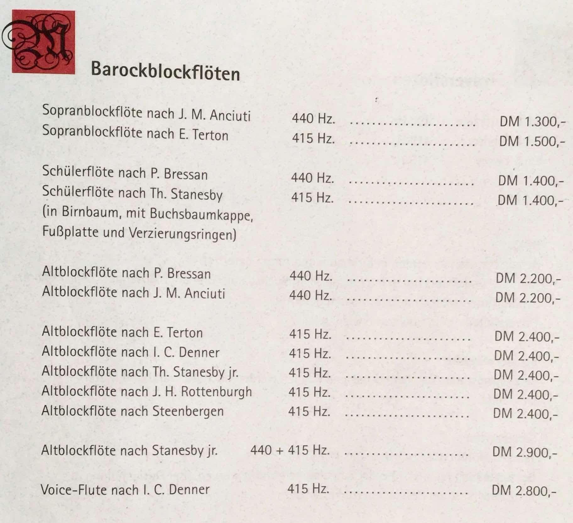 Gerd Melchers Preisliste Blockflöten 1993