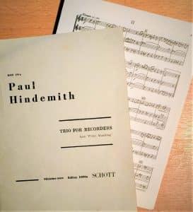 Taschenpartitur Deckblatt und Ausschnitt Hindemith Trio